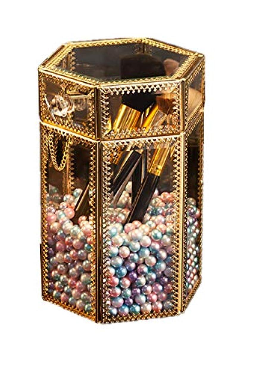叙情的な犯人バッテリーメイクブラシホルダー ヴィンテージガラス製クリア六角メイクブラシ収納ボックス 人魚姫色の真珠付き