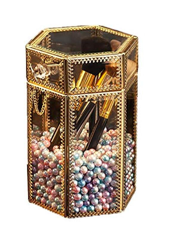 粒子ニッケル開梱メイクブラシホルダー ヴィンテージガラス製クリア六角メイクブラシ収納ボックス 人魚姫色の真珠付き