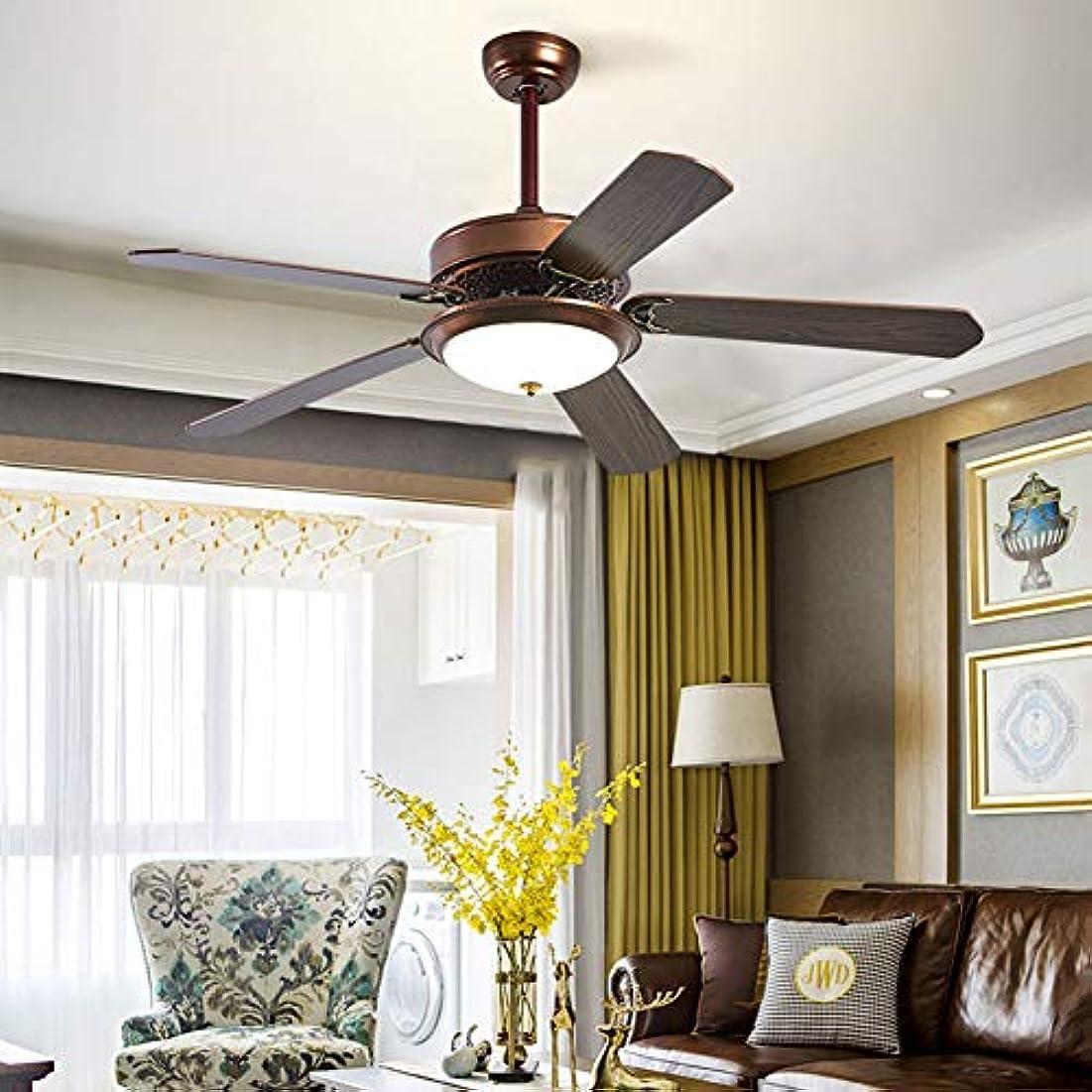 バレーボール部想起リビングルームとベッドルームのための光、6速の微調整、ノイズなし、とアンティークウッドリーフ扇風機、52インチ、3色の調光天井のファン