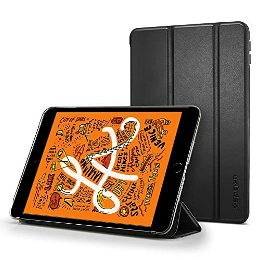 ずっと社会飛び込む【Spigen】 タブレットケース iPad mini 5 ケース カバー 三つ折 スタンド オートスリープ 機能 高級PUレザー スマートフォールド 051CS26112 (ブラック)