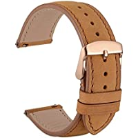WOCCI 20mm Suede Vintage Leather Watch Band with Rose Gold Buckle, Quick Release Strap (Light Brown with Tone on Tone Seam)