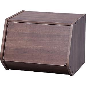 アイリスオーヤマ スタックボックス 扉付き 幅40×奥行38.8×高さ30.5cm ブラウン STB-400D