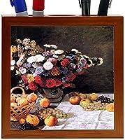 Rikki Knight Claude Monet Art Flowers and Fruits Design 5-Inch Wooden Tile Pen Holder (RK-PH3528) [並行輸入品]