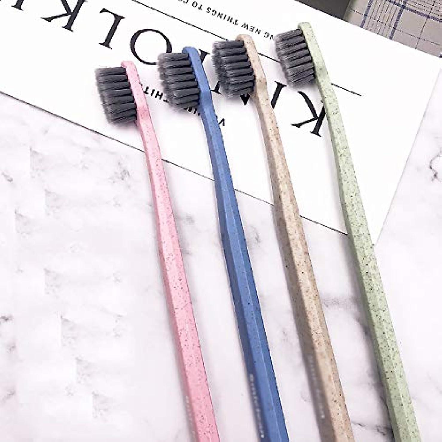 役職ヒューズモノグラフ歯ブラシ 8本のスティック大人歯ブラシ、竹炭歯ブラシ、ブラックブラシヘッド歯ブラシ - 使用可能なスタイルの3種類 HL (色 : A, サイズ : 8 packs)