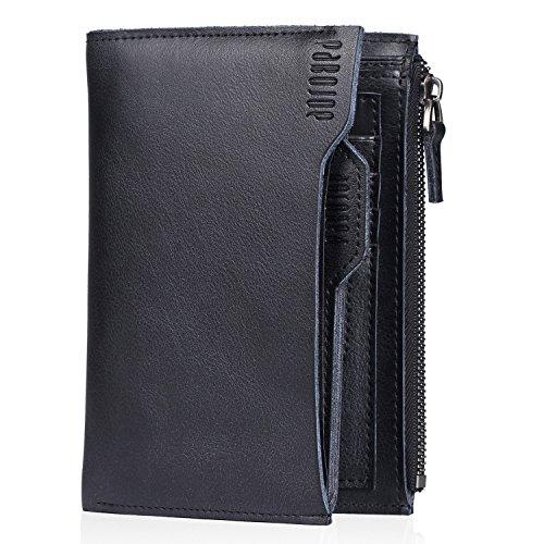 [パボジョエ]Pabojoe 財布 二つ折り メンズ レザー ロングウォレット 本革 人気 ブランド プレゼントに最適 (ブラック)