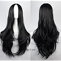 Womens Long Wavy Curly Synthetic Cosplay Wigs Hair Party Heat Resistant Party Black