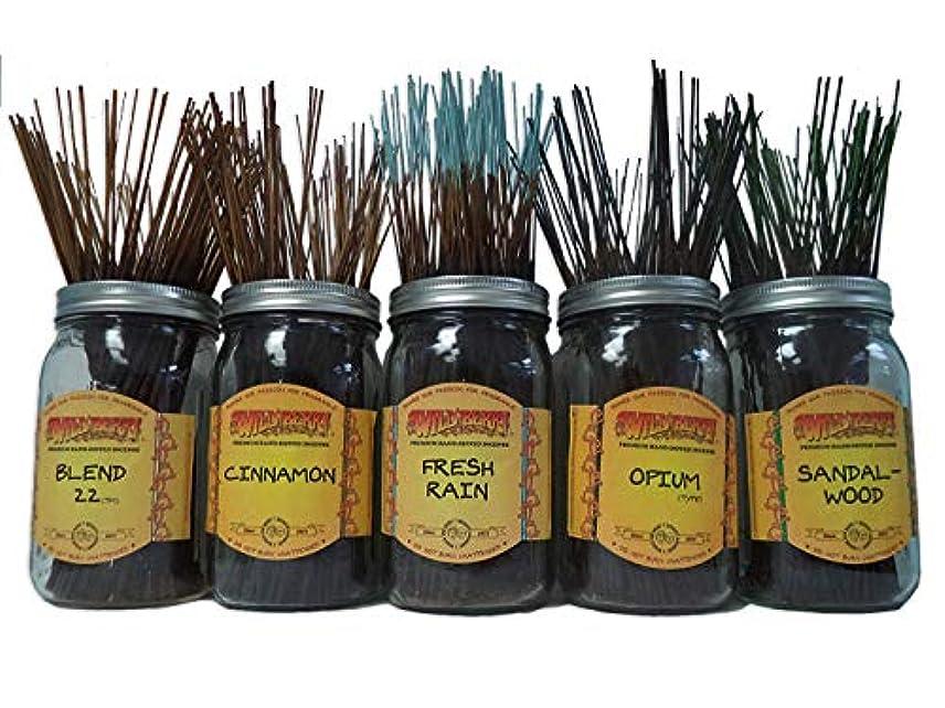 初心者先鋸歯状Wildberry Incense Sticks Best Sellerセット# 3 : 20 Sticks各5の香り、合計100 Sticks 。