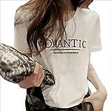 ゆったり 長め丈 半袖 カジュアル ロゴ入り Tシャツ レディース トップス (ホワイト, M)