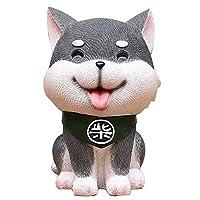 HAPPYJP 柴犬 貯金箱 子供 おもちゃ 小銭ボックス 可愛い プレゼント (グレー, 身長16cm)