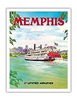 メンフィス、テネシー州 - ユナイテッド航空 - パドルホイールボート - ビンテージな航空会社のポスター によって作成された ヘーゲル c.1970s - アートポスター - 51cm x 66cm