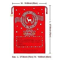 OurWarm 1 個クリスマスサンタ袋鹿巾着キャンバスサンタ新年のクリスマス装飾ストッキングギフトバッグ