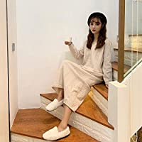 DaQingYuntur Solid Color Retro V-Neck Knit Twist Dress Loose Long Paragraph Bottoming Sweater Skirt Female (Size : M)