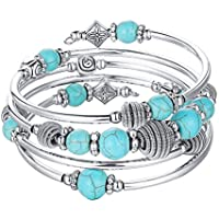Beaded Chakra Bangle Turquoise Bracelet - Fashion Jewelry Wrap Bracelet with Thick Silver Metal and Mala Beads, Birthday Gifts for Women
