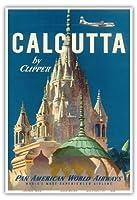 クリッパーによってカルカッタインド - パンアメリカン航空 - Pareshnathのジャイナ寺院 - ビンテージな航空会社のポスター c.1951 - アートポスター - 33cm x 48cm