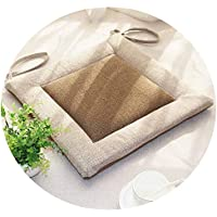 リネンオフィスの畳のクッションマット夏の通気性のシンプルな家庭食卓のクッション,(方形)米白边+浅咖面,直径50*50*厚4cm