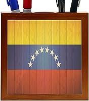 Rikki Knight Venezuela Flag on Distressed Wood Design 5-Inch Wooden Tile Pen Holder (RK-PH8555) [並行輸入品]