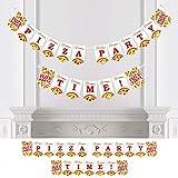 Big Dot of Happiness パーソナライズされたピザパーティータイム - カスタムベビーシャワーまたは誕生日パーティーバナー&デコレーション - ピザパーティーカスタムバナー