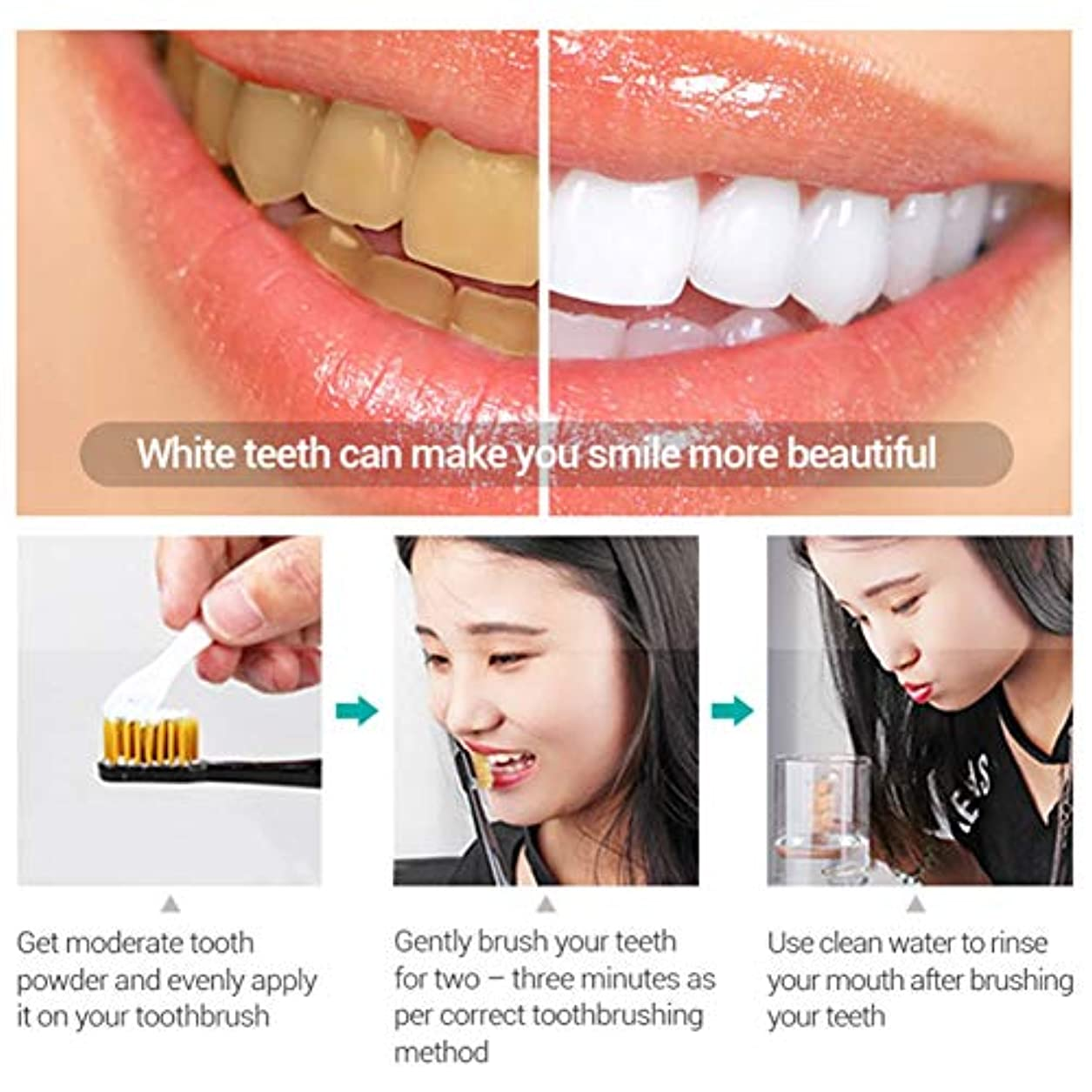 わずらわしい人質塗抹レモン 歯磨き粉 ホワイトニング フレッシュ ブライトトゥースパウダー 黄色い歯 歯の汚れ たばこ歯 ホワイトニングトゥースパウダー Cutelove