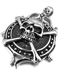 Epinki、メンズステンレススチールペンダントネックレスシルバーブラック海賊スカルゴシック