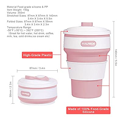KALREDE Coffee Travel Mug Collapsible –Food-Grade Silicone Travel Coffee Cup with Leak-Proof Lip & Heat-Proof Sleeve – Reusable Folding Camping Mug for Outdoor, Hiking, Travel ( 350ML)