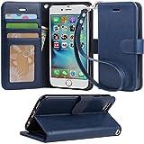 (Arae) iphone 6 ケース 手帳型 iphone 6ケースRoHS規格認定書取得 iphone 6s ケース スタンド機能付き iphone 6sケース マグネット内蔵 アイホン 6s ケース ストラップ付き アイホン 6 ケース 財布型 アイホン6sケース カードポケット付き アイホン6ケース 耐衝撃(ブルーブラック)