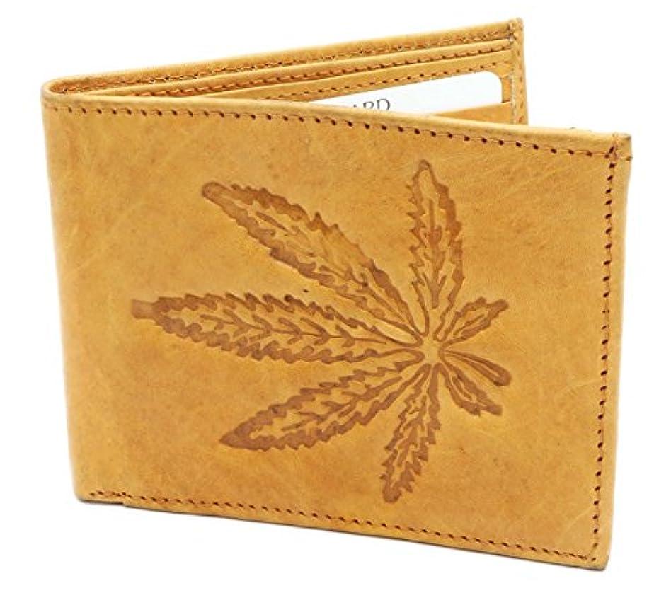 負予備人物二つ折り本革ベージュ財布マリファナの葉エンボス加工のデザイン