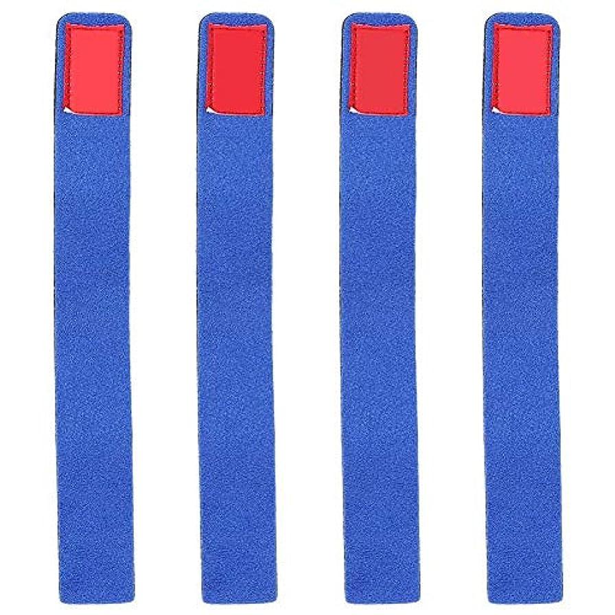 文言ペースお風呂4本 釣り竿用ストラップ 弾性 釣り竿用ベルトマジックポール包帯 青