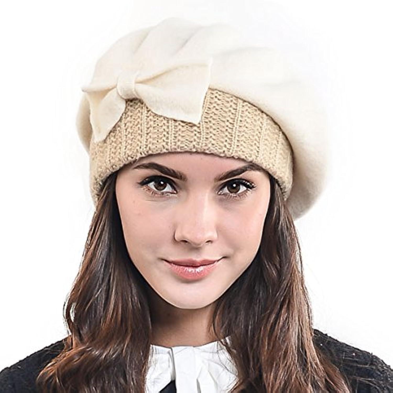 ベレー帽 レディース 秋冬 フェルト リボン ゆったり被れるベレー帽 レディース帽子 リブ ウール H-HY022