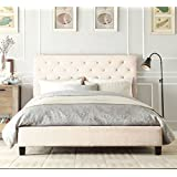 Istyle Chester Queen Bed Frame Fabric White