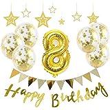 【Big Hashi 】お子様誕生日パーティー HAPPY BIRTHDAY アルミニウム 数字(8)バルーンゴールド 誕生日 飾り付け セット (js-j08)