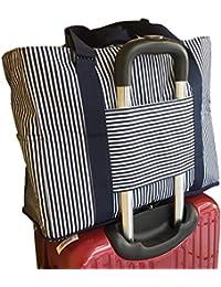 【Blue ISLAND キャリーオンバッグ BY43186】 旅行バッグ/大容量/トラベルバッグ/レディース・メンズ兼用 旅行バッグ/軽量/収納バッグ/旅行用品 (ボーダーネイビー)