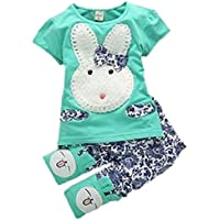 Baby Kids Girls Boys Toddlers Cute Rabbit Top+short Pants Set Clothes 2pc Suit