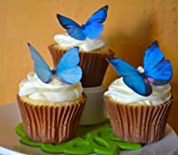 Edible Butterflies テつゥ -Large Blue Set of 12 - Cake and Cupcake Toppers, Decoration by Sugar Robot Inc.