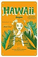 22cm x 30cmヴィンテージハワイアンティンサイン - ハワイでのオルガン - Mark Laubが手がけた - ヴィンテージ・ハワイアン・シート・ミュージック c.1960