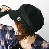 ピースクロージング 飾りベルト付き キャスケット コットン BM レディース 帽子 春夏 秋冬 UVカット 紫外線対策 シンプル つば付 カジュアル ブラック