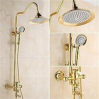 欧州ガラスフルの銅のホット水シャワーシャワーシャワー古代コスチュームゴールデン雨の壁タイプスプリンクラSprinkler Head Phones準拠