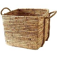 スクエアポータブルランドリーバスケットベッドルームホームラタン汚れたハンパー服雑貨のストレージバスケット (サイズ さいず : 33 * 32 * 28cm)