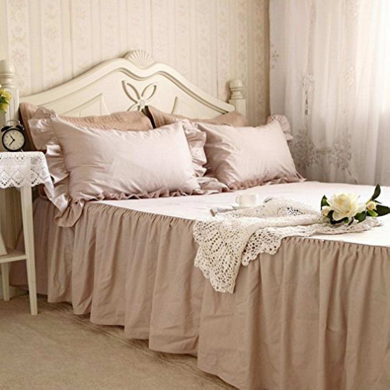 無地 綿100% 洗える ベッドスカート クイーン
