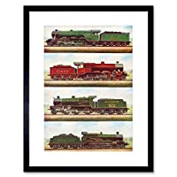 Transport Vintage Painting Train Engine Locomotives Steam Framed Wall Art Print 輸送ビンテージペインティング列車エンジン機関車蒸気壁