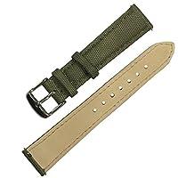 クイックリリースナイロン帆布腕時計バンド、ナイロンフルグレインレザー交換腕時計ストラップステンレススチールメタル留め金 (18MM, アーミーグリーン)