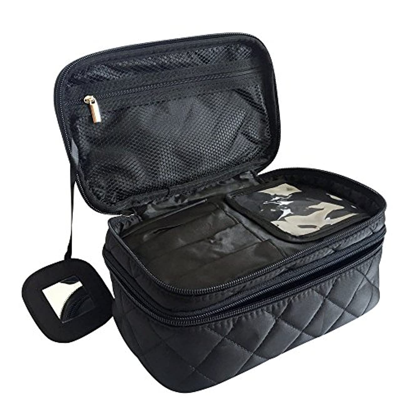 杭壮大なプレフィックスONEGenug プロ用 メイクボックス 高品質 多機能 多容量 メイクブラシバッグ 収納ケース スーツケース?トラベルバッグ 化粧 バッグ メイクブラシ 化粧道具 小物入れ 23cm×14cm×10cm