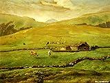 ミレー 「ヴォージュ山中の牧場風景」 原画同縮尺近似(10号) millet-03-04