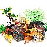 ジャングルアニマルフィギュア 52ピース ミニリアルなサファリの野生動物園 プラスチック動物 学習教育玩具セット 子供 幼児 森 農場 動物 プレイセット カップケーキ トッパー パーティー 記念品 おもちゃ