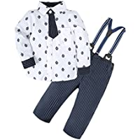 a7bc0b9fc497 BIG ELEPHANT Baby Boys' 2 Pieces Long Sleeve Shirt Suspender Pants Clothing  Set with Tie