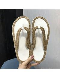 女性の靴サンダルフリップフロップ麻ロープ春と夏ハイヒールソフトボトムスロープ厚いボトムスフリップフロップビーチシューズシーサイドアウトドアシューズホームシューズ (色 : 白, サイズ さいず : UK5.5/EU38/...