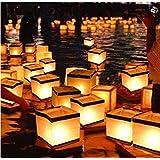 20 Pack Diagtree Square Chinese Lanterns Wishing, Praying, Floating, River Paper Candle Light, Floating Lanterns for Lake or