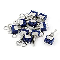 uxcell AC 125V 6A SPDT 2 ポジション 小型 ミニ トグルスイッチ ブルー 10個入り