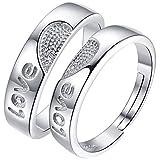 SOEKAVIA ペアリング カップル リング 婚約指輪 オープンリング フリーサイズ ダイヤモンド付き シルバー 2個セット ペアリング専用の綺麗なボックス( 永遠の愛)