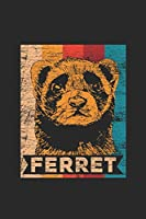 """Ferret Retro Colors: Ferrets Notebook, Blank Lined (6"""" x 9"""" - 120 pages) ~ Animal Themed Notebook for Daily Journal, Diary, and Gift"""