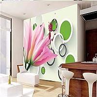 Wuyyii カスタム任意のサイズの壁画の壁紙3Dstereo白黒サークルマグノリア漫画の美しさテレビの背景の壁-250X175Cm